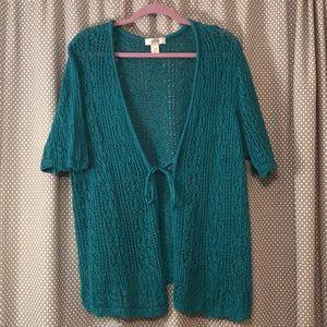 Turquoise crochet sweater 2X